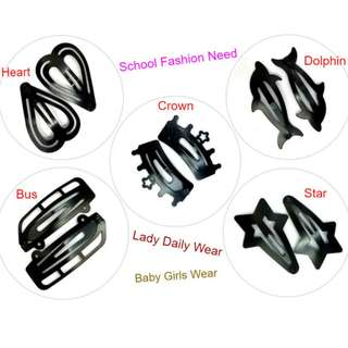 Cute Black Hair Clip / Baby Girls / Kids / School Fashion Need / Lady Daily Wear - 2pcs per pack