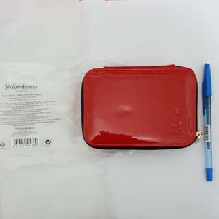 YSL 化妝袋 (有鏡) 紅色 全新