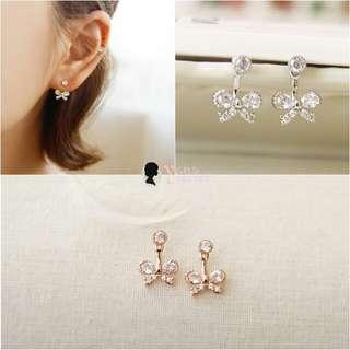 韓款 925純銀 蝴蝶結閃鑽 兩用懸浮式耳針