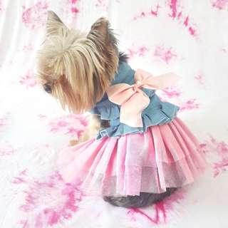 Denim Pom Pom Dress
