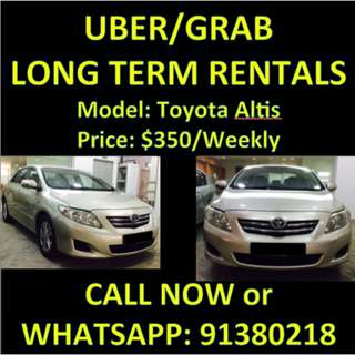 UBER/GRAB LONG TERM Toyota Altis