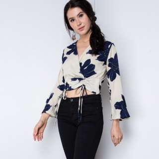 (CNY INSTOCK) Thella Floral Wrap Blouse