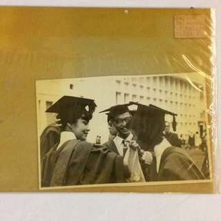 Vintage Old Photo - Old Black & White Photograph showing Graduates from University of Malaya (13 by 9 cm)