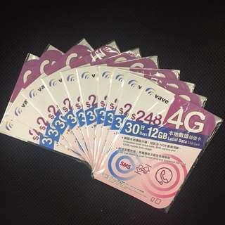 Vave 248 30天12GB連語音 儲值卡