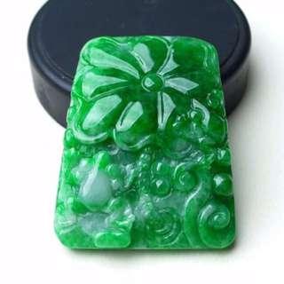 缅甸天然A货翡翠 水润 绿色荷花