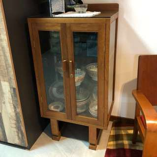 Rare vintage u-leg teakwood display cabinet