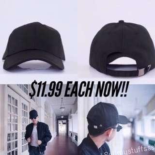 INSTOCKS Black Plain Baseball Cap