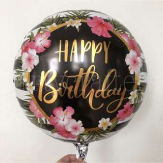 Happy Birthday Floral Foil Balloon