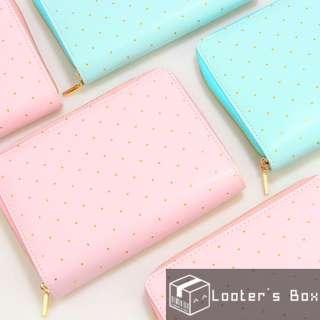 A6 Macaron Gold Stamped Polka Dot Premium Planner Zipper Notebook