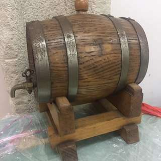 Old Martell wooden beer barrel