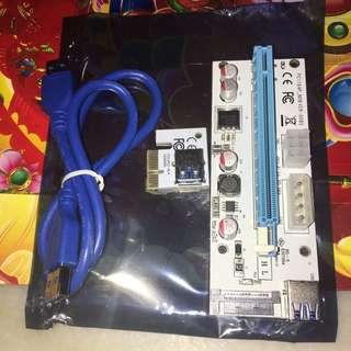 PCI-e riser card ver:008s white(new)