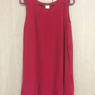High Quality Red Pleated Dress