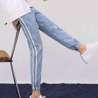 Korean Ulzzang: High Waisted Tattered Holes Ripped Track Jogger Pants Denim Boyfriend Jeans