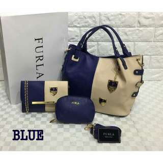 Furla 3 in 1 Bag Blue Color