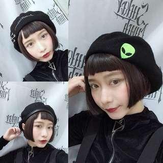 🚚 英文圓環/配皮貝蕾帽/外星人造型貝蕾帽