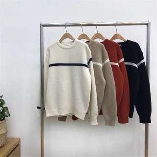 《早衣服》1月心開始❤️情侶款oversize寬鬆不對稱簡約針織毛衣(預)