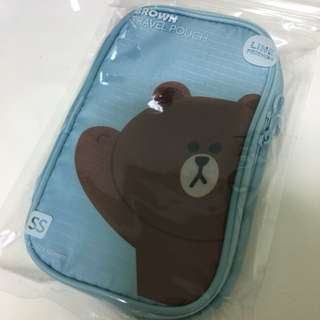 Line Friends Brown Travel Pouch