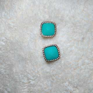 Call It Spring Square teal earrings