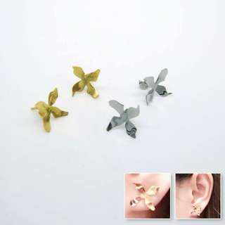stainless steel flower earrings / gold plated or original color / 不銹鋼花花耳環,鍍金或原色