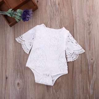 White lace sleeved romper