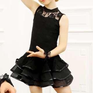 Jazz Latin Cha Cha Dance Girls Black Lace Dress