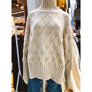 🚚 韓國連線 立領菱格紋毛衣/羊毛針織毛衣
