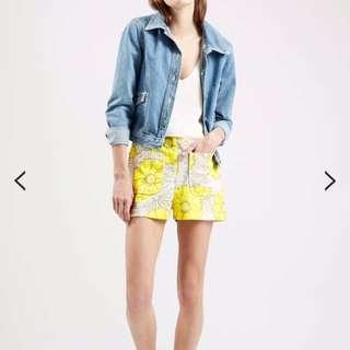 Topshop Yellow Sunshine Floral Shorts