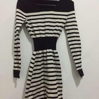 Strip bodycon dress