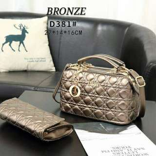 Dior Satchel 2 in 1 with Clutch Bronze Color