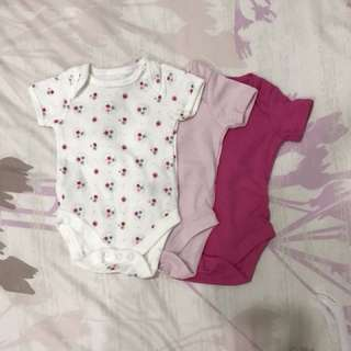 3 pieces new mothercare rompers for newborn
