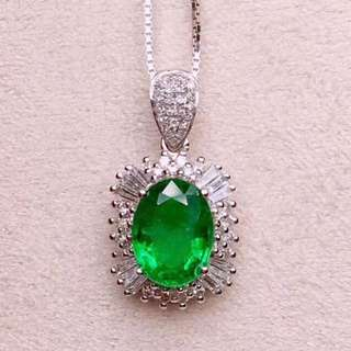 18K白金 哥倫比亞祖母綠鑽石項鍊