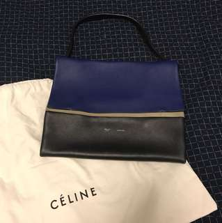 Celine flip shoulder leather suede bag