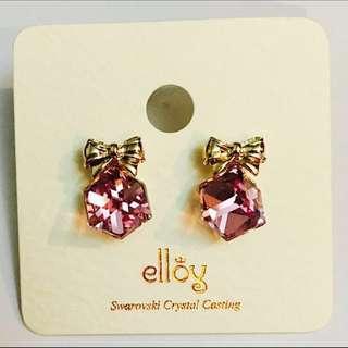 Baby Pink Sparkling Swarovski Crystal Ribbon Ear Studs * Brand New * Korea *