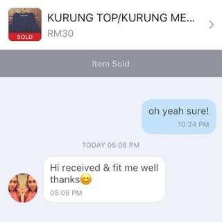 Feedback Post on Sold Kurung Top & Mermaid Skirt