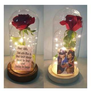 Customized Beauty and the Beast Enchanted Rose Jar with Lights