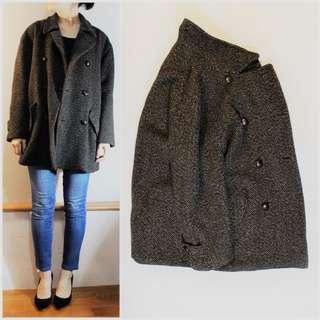 Paul Smith 日本製 彩織100%羊毛呢雙排扣大衣 vintage古著
