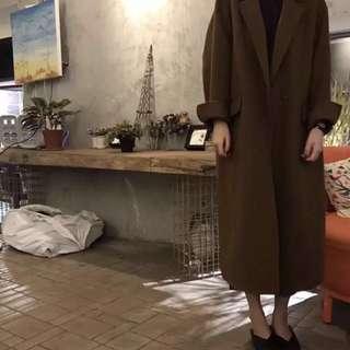 韓版女裝秋冬寬鬆毛呢大衣