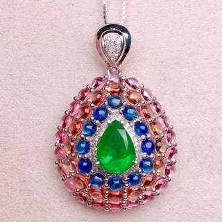 18K白金 哥倫比亞祖母綠 藍寶石鑽石項鍊