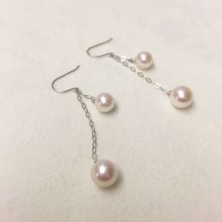 Pink Pearl Earrings (14K White Gold)