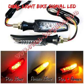 Dual Colour Voltage Source Amber + Red Universal Motorcycle Bikes Flashing LED Side Turn Signal Repeater Running Fog Brake Pole Lights
