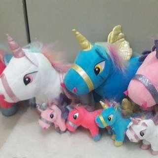 Unicorn Plush Stuffed Toys and keychain
