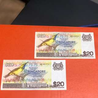 Singapore Old Note Bird series $20