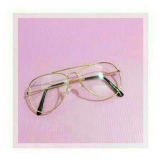 Sunglass aviator frame transparent / frame aviator gold
