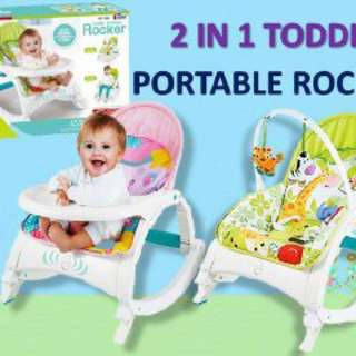 [READYSTOCK!!] 2 IN 1 MULTIFUNCTION TODDLER PORTABLE BABY ROCKER & FEEDING CHAIR