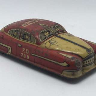Vintage Tin Toy Fire Chief Car
