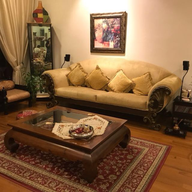 4 Seater Sofa With Wooden Carved Arms
