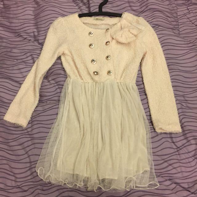 米白蝴蝶結針織雪紡洋裝