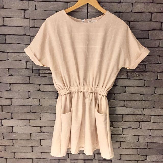 韓版縮腰顯瘦洋裝