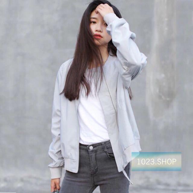 灰色飛行外套長袖外套流行女裝薄外套