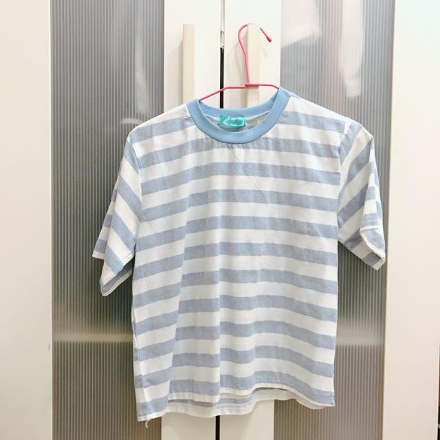 藍色條紋短版上衣